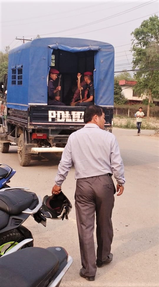 Police in Ghorahi during arrest of four Christians on Tuesday (April 23) in Nepal. (Morning Star News)