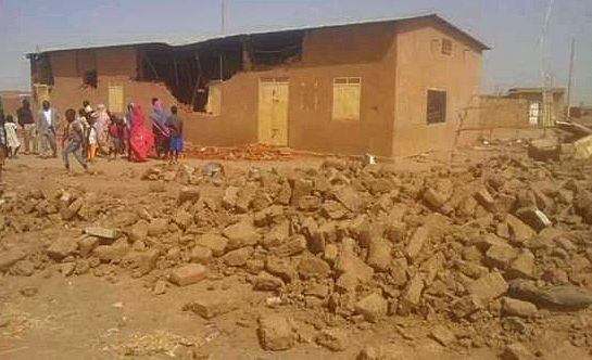 Sudan Church of Christ building demolished outside Khartoum on Sunday (May 7). (Morning Star News photo)
