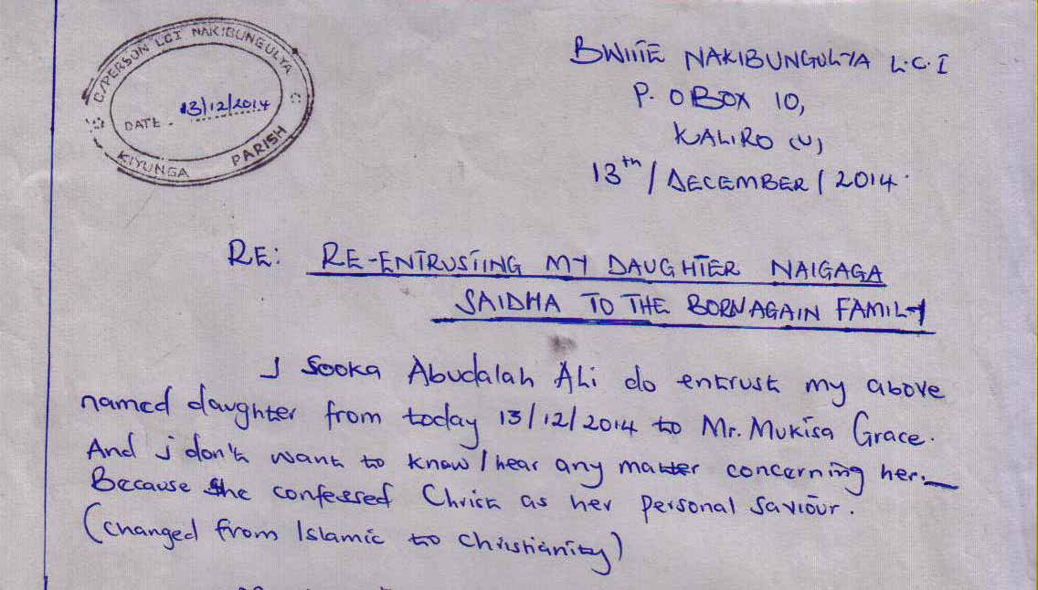 Portion of Imam Abudalah Ali's statement disowning his daughter for conversion to Christ. (Morning Star New)