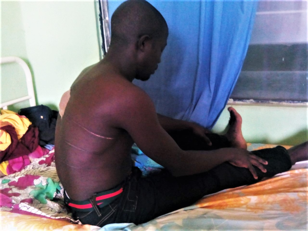 Samuel Wah in hospital bed in Miango, Nigeria. (Morning Star News)