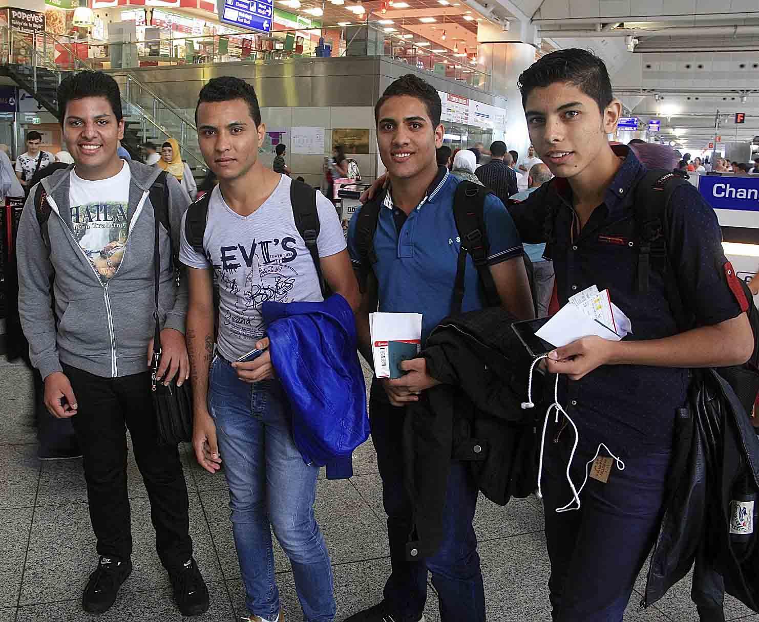 (From left) Moller Yasa, Klenton Faragalla, Bassem Younan and Albir Shehata at Istanbul Ataturk Airport before departure. (Morning Star News)