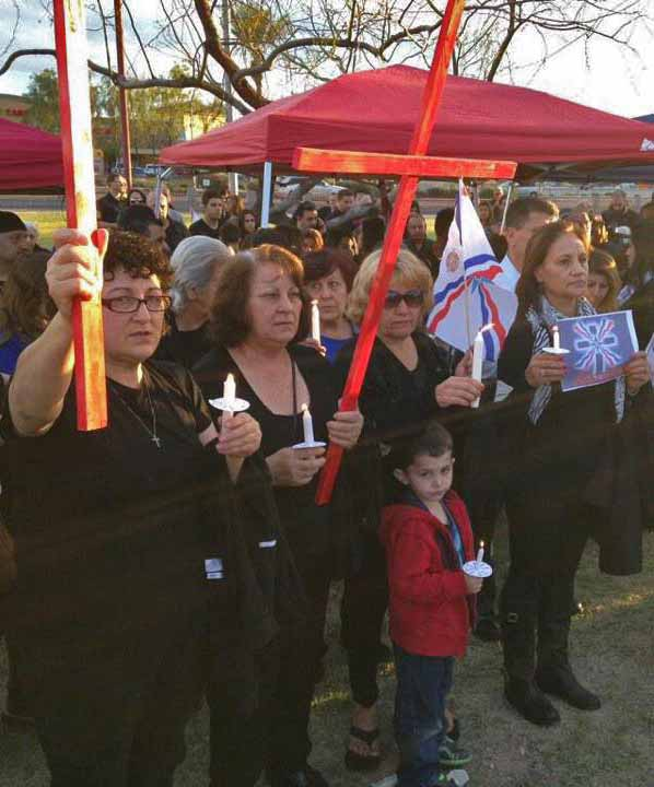 Assyrians in Phoenix, Arizona protest Islamic State treatment of Assyrians in Syria. (AINA