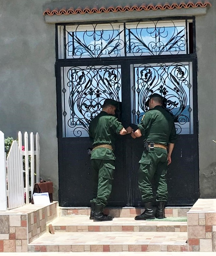 Gendarmes seal shut doors of church in Boudjima, Algeria on May 22, 2019. (Morning Star News
