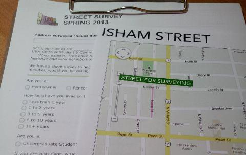 Photo of a                                                  survey and a map of                                                  Isham Street on a                                                  clipboard.