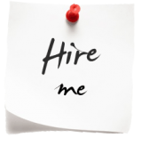 "Photo of a note with a                                              pin in it reading ""Hire                                              me""."
