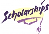 "The word                                              ""scholarships""                                              with a line drawing of a                                              mortar board."