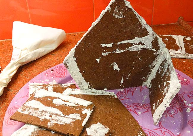 gingerbread house collapsing