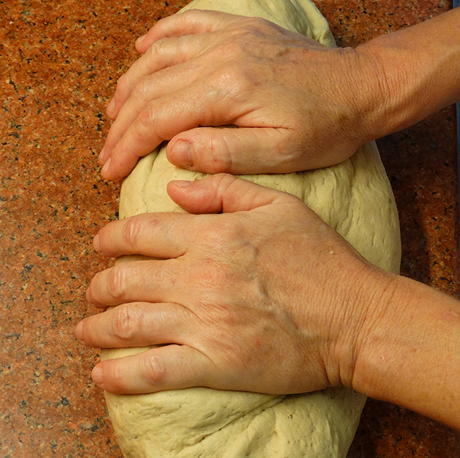 Kneading dough with hands