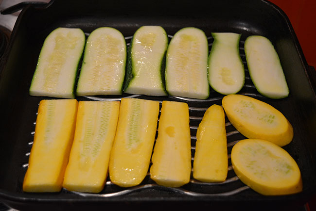 veggies in the griddle pan