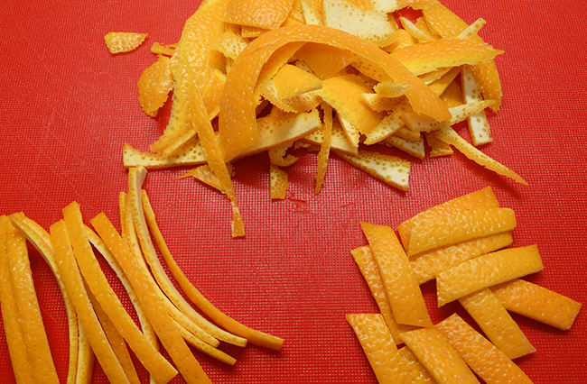 orange rinds cut into shapes