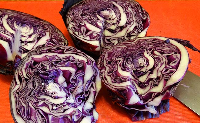red cabbage quartered