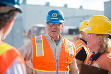 Secretary of Energy Rick Perry smiles at the Hanford Vit Plant.