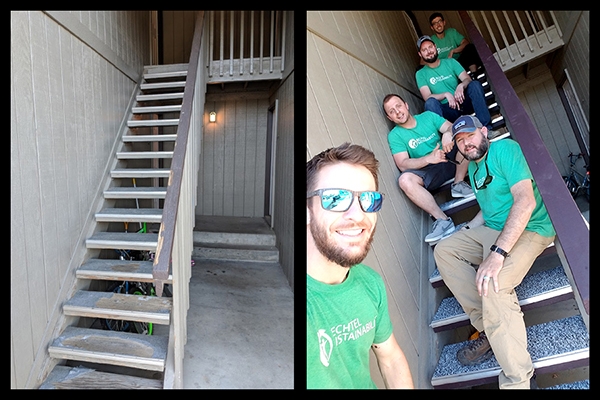 Employees at the Hanford Vit Plant recently repaired a stairway at a housing facility for the Domestic Violence Services of Benton & Franklin Counties to improve safety for the tenants.