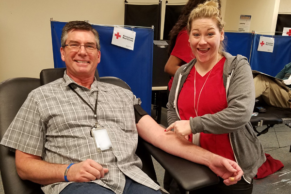 Vit Plant employees donate blood during project blood drive.
