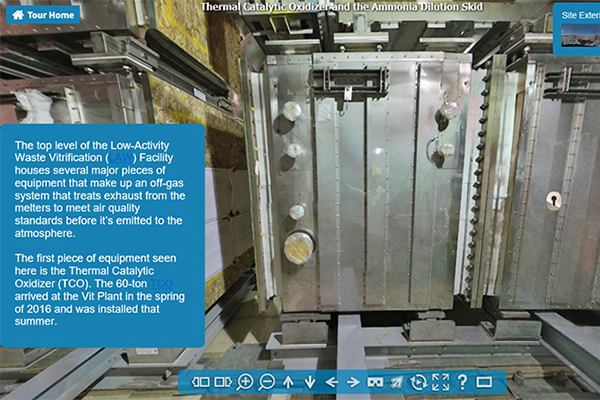 Click the link for a virtual tour of this area where you will see and learn more about the 60-ton thermal catalytic oxidizer and the 7-ton ammonia dilution skid.