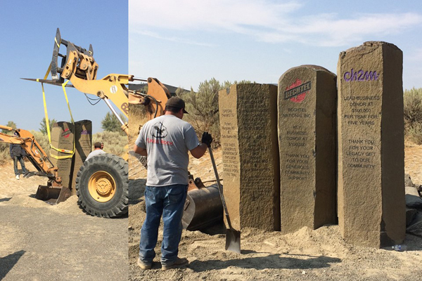 A basalt column is in place at the Candy Mountain trailhead commemorating Bechtel's $100,000 donation to the Friends of Badger Mountain