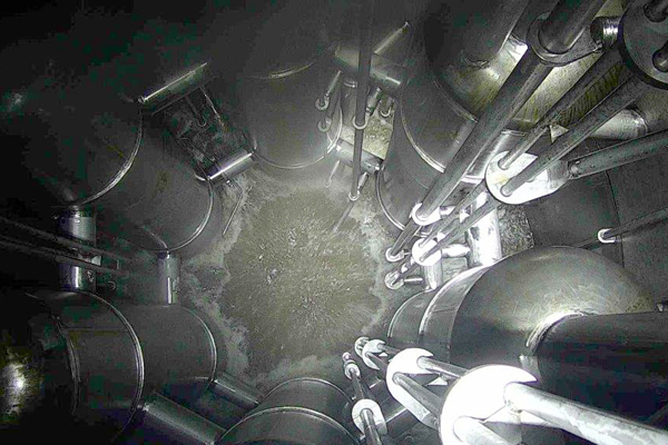 The inside of the test vessel contains six pulse jet mixers used to keep the solids suspended in the simulated radioactive waste.