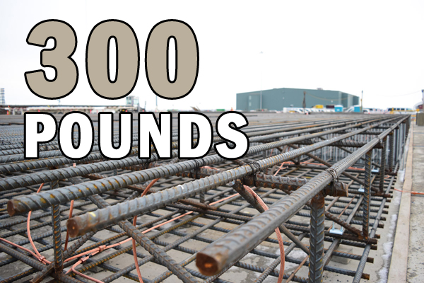 The Vit Plant uses #11 rebar in places.