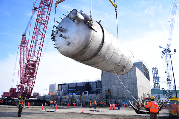 A 40,000-gallon vessel was received at the Hanford Vit Plant