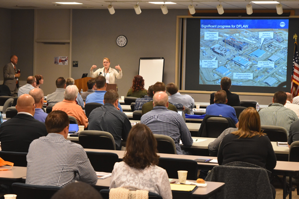 Peggy McCullough, Vit Plant project director, speaks at the third annual Vit Plant Supply Chain Collaboration Event in September.