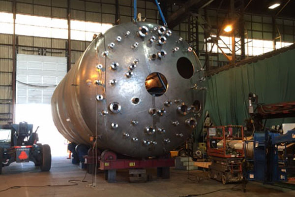 The 16-foot-diameter test vessel being fabricated in Vancouver, Washington, will be barged up the Columbia River to Richland later this summer.