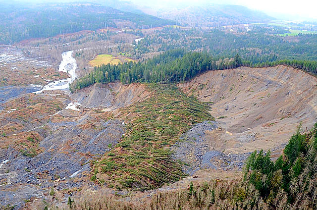 Aerial photo of Oso, WA landslide