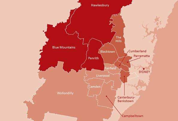 Map of Western Sydney District boundaries