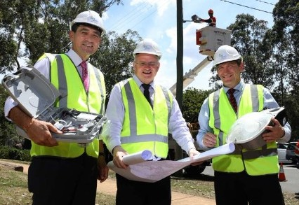 State Member for Parramatta, Geoff Lee, Lord Mayor of Parramatta, Cr Andrew Wilson and Mayor of Blacktown, Cr Stephen Bali at launch of Energy Efficiency Light Program