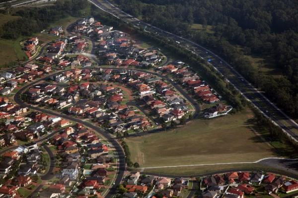 Aerial shot of suburb in Western Sydney