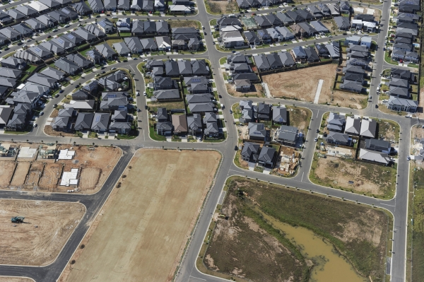 Aerial view of Western Sydney housing development