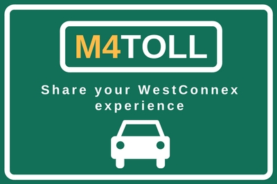 M4 Toll campaign logo: Share your WestConnex experience