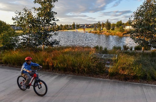 Child riding his bicycle along a pathway near a lake. Leafy housing  estate in background.