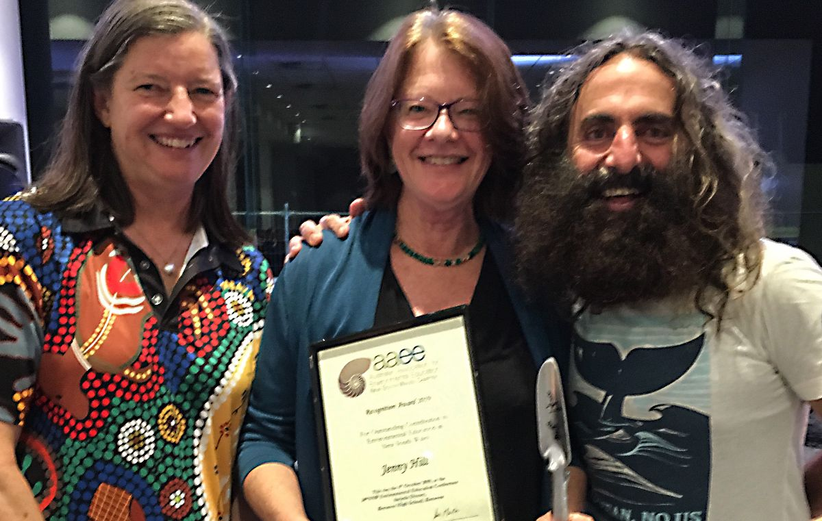 Jenny Hill, pictured with Sue Martin, President of the Australian Association for Environmental Education NSW Chapter, and Patron of AAEE NSW Costa Georgiadis