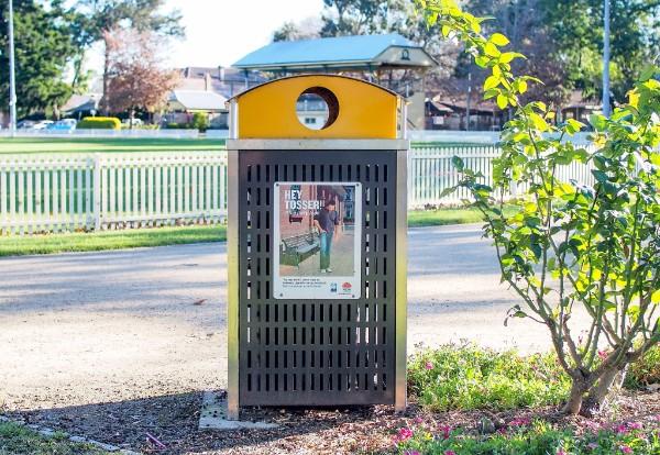 Public recycling bin in a park.