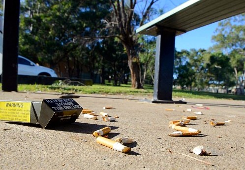 Cigarette litter on the ground.
