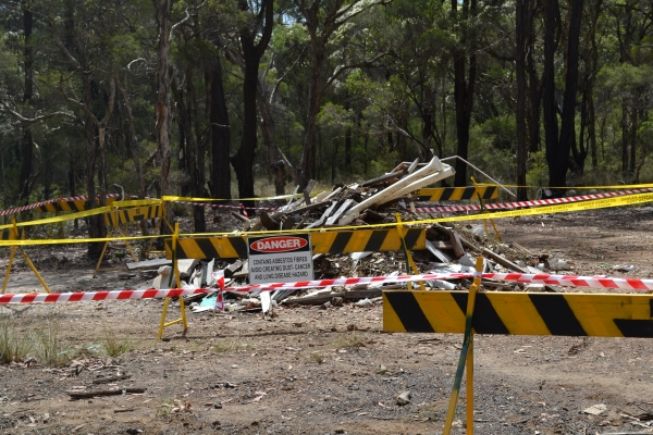 Asbestos dumped on council land.