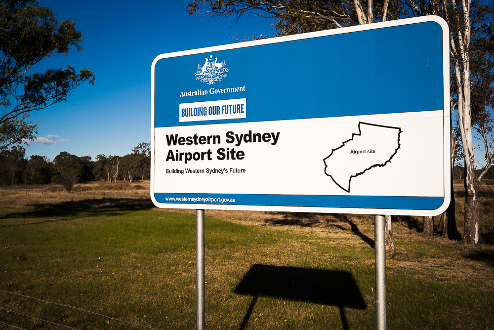 Western Sydney Airport Site signage in rural setting.