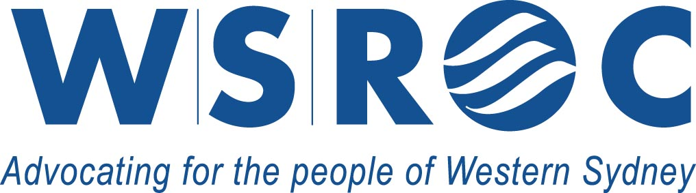 Navy blue WSROC logo with wave design within the O and words undernteath - Advocating for the people of Western Sydney