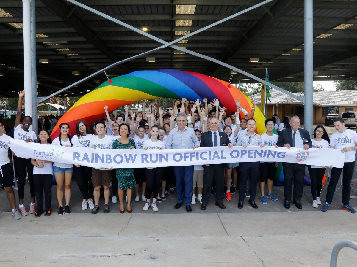 Rainbow Run participants in crowd
