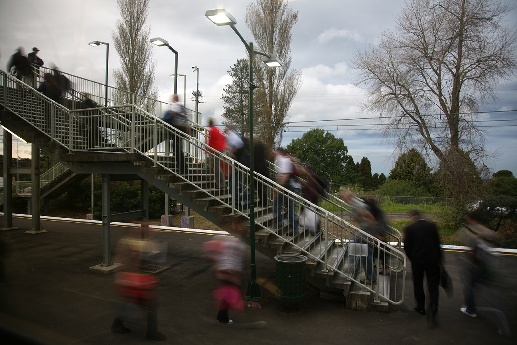 Commuters at train station in Western Sydney.