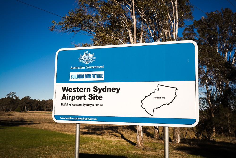 Australian Government sign for the Western Sydney Airport site at Badgerys Creek.