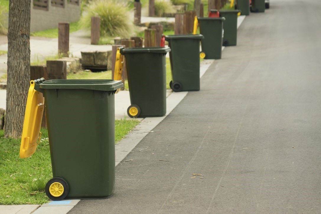 Recycling bins neatly lined up on kerb.