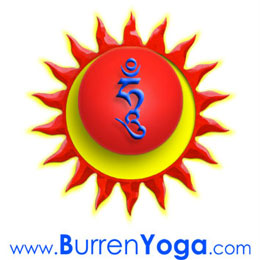 Burren Yoga Sun and Moon logo with Wisdom Hung symbol