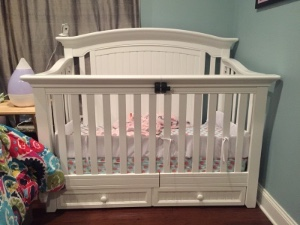 Photo of adaptive crib with a railing that opens like two doors.