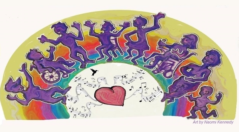 Art of eight people's purple silhouettes in a semicircle dancing with their arms out.
