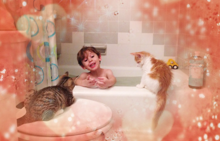 Patsy and Rupert help at bathtime