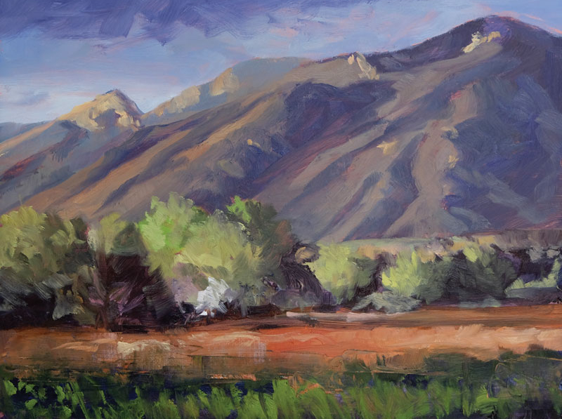 Springtime Evening Taos, New Mexico, oil painting by artist Dawn Chandler