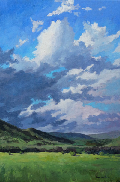 When Rain Finally Comes to New Mexico, oil painting on canvas by artist Dawn Chandler