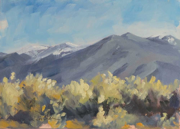 March View from Taos Mesa plein air oil landscape painting by Santa Fe artist Dawn Chandler
