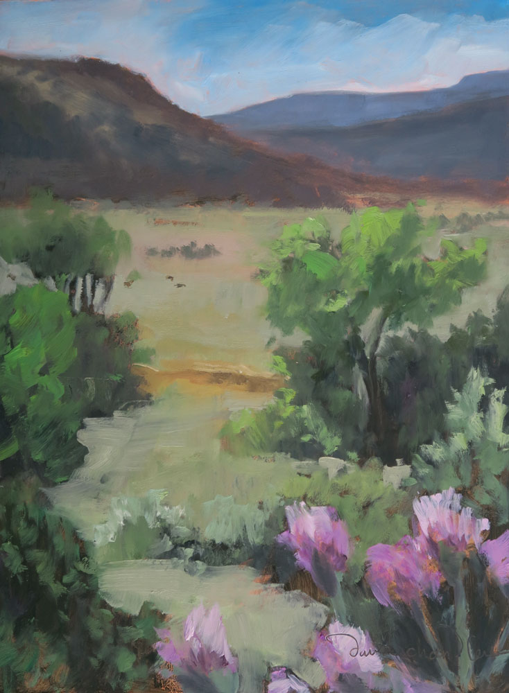 Rayado Summer Valley View (Philmont),oil landscape painting by Santa Fe artist Dawn Chandler